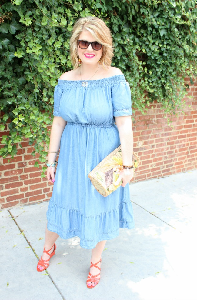 Old Navy chambray dress // J. Crew Wedges // Monogram necklace