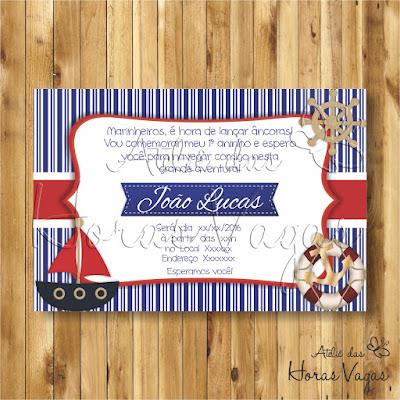 convite digital aniversário infantil personalizado artesanal festa 1 aninho marinheiro chá de bebê fraldas menino azul marinho vermelho e branco