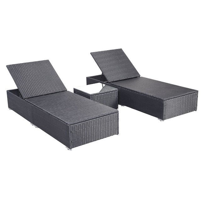 Wicker Outdoor Furniture Pool Chaise Lounge Chair with Table Black