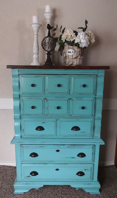 re-purposed dresser in robin egg color paint