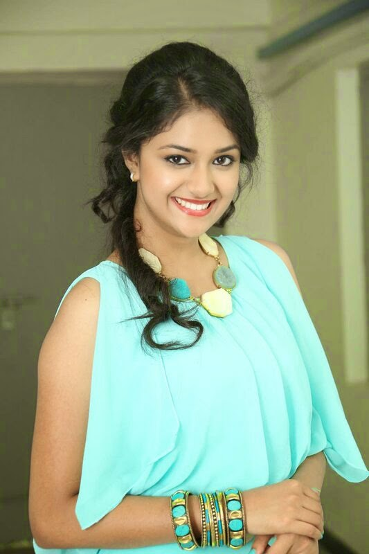 Tollywood Actress Keerthy Suresh Hot Face Long Curly Hair Photos In Blue Dress