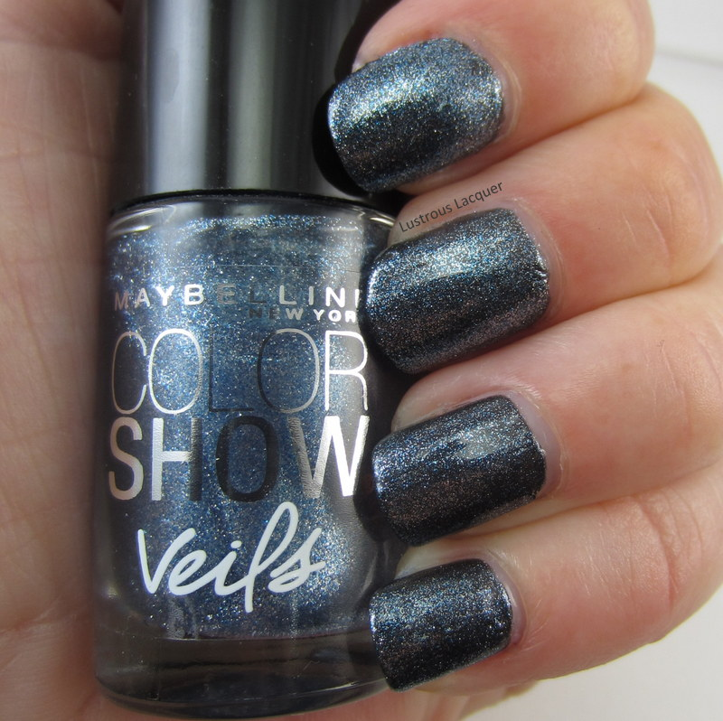 dusty blue micro shimmer nail polsh