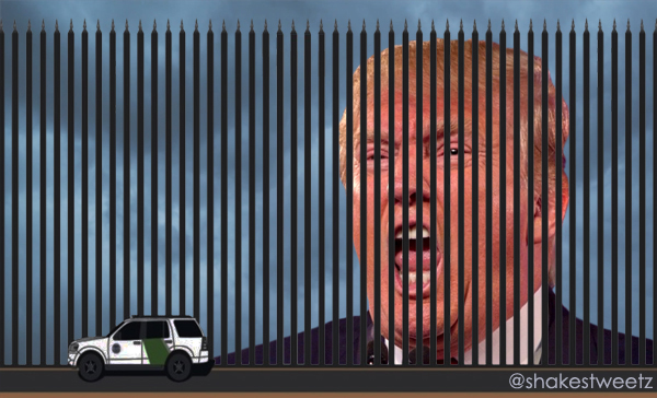 image created by me featuring the graphic Trump tweeted showing his border wall, behind which I have photoshopped storm clouds and Trump's giant head mid-scream, giving the appearance that he is delivering his speech from behind his own proposed border wall, which also looks like it doubles as a prison bars