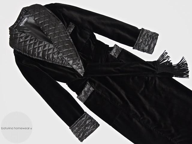 Men's black velvet luxury dressing gown quilted robe warm full length