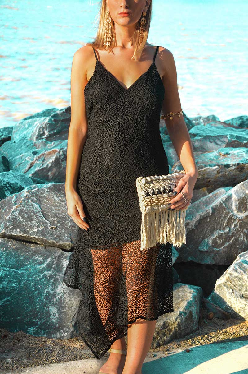 evening outfit black lace pilgrim dress and shell clutch statement gold earrings blogger style