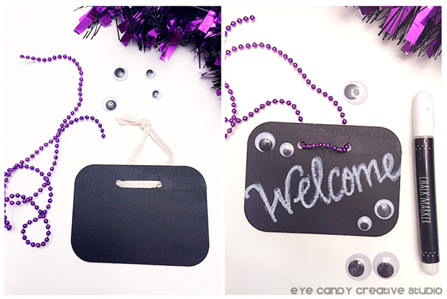 chalkboard sign, chalk paint pen, googly eyes, purple beads, wreath