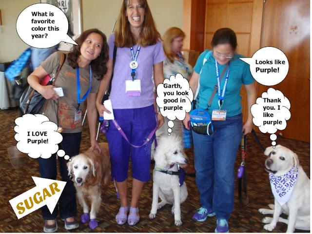 Sugar, Rosalyn, Bunny, Carma Poodale, Rebecca and Garth- Purple People