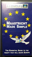 Photo of the video cover of Maastricht Made Simple by the European Newspaper, which was founded by Robert Maxwell in 1990 after the fall of the Berlin Wall and terminated in 1998