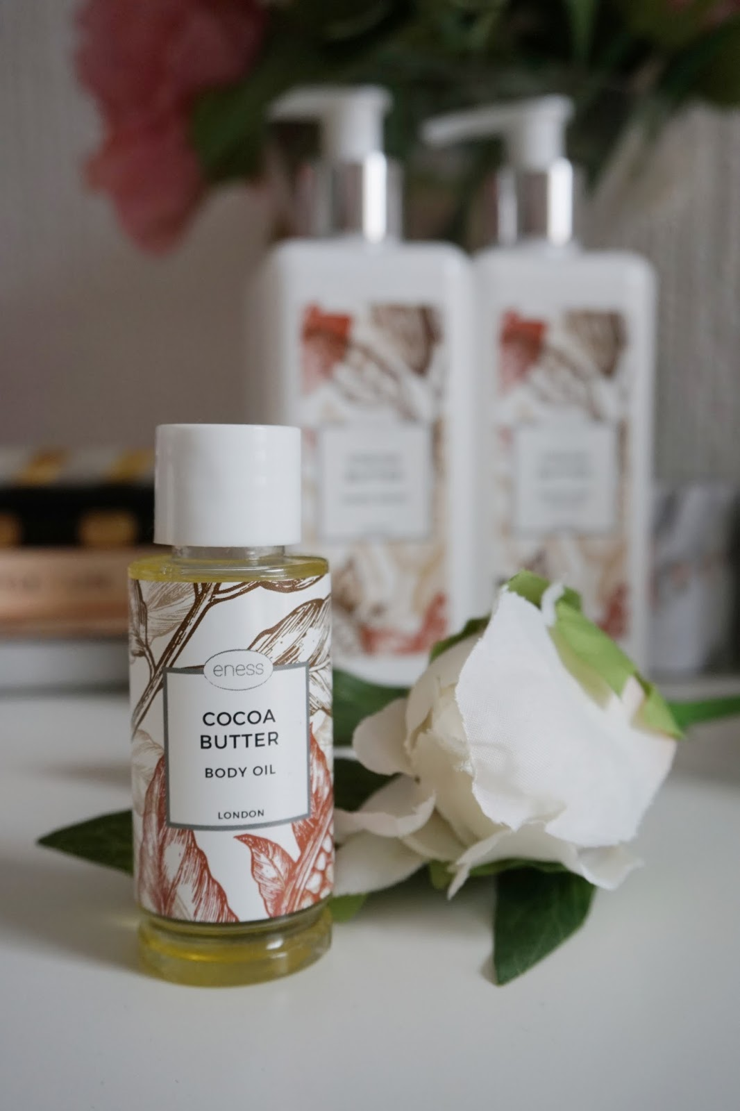 The Eness Cosmetics Cocoa Butter Body Oil from the new botanical range