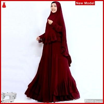 FHGS9086 Model Syari Salwa Maron, Perempuan Pakaian Muslim Jersey BMG