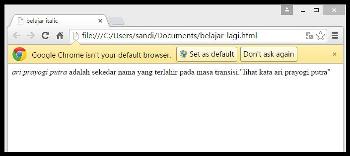 memiringkan text dengan tag italic <i> pada html