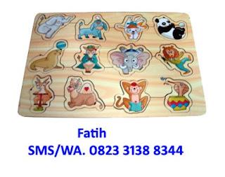 mainan kayu puzzle sirkus
