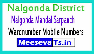 Nalgonda Mandal Sarpanch Wardmumber Mobile Numbers List Part I Nalgonda District in Telangana State