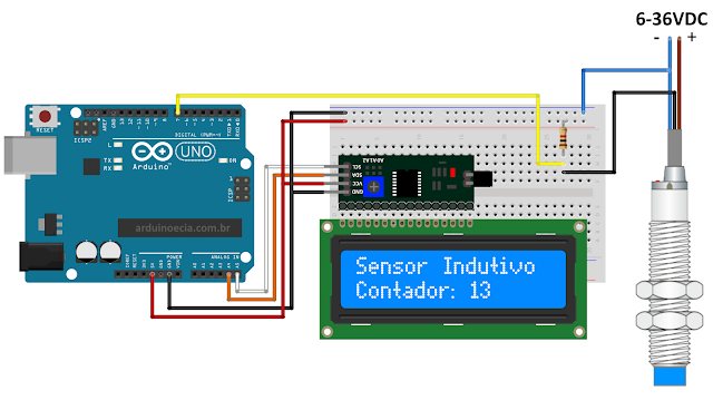 Circuito Arduino Uno Sensor Indutivo e display LCD 16x2 I2C