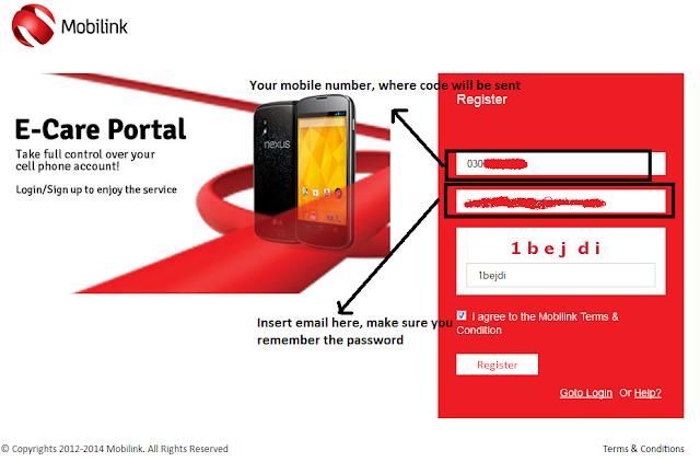 Mobilink e-care portal's homepage