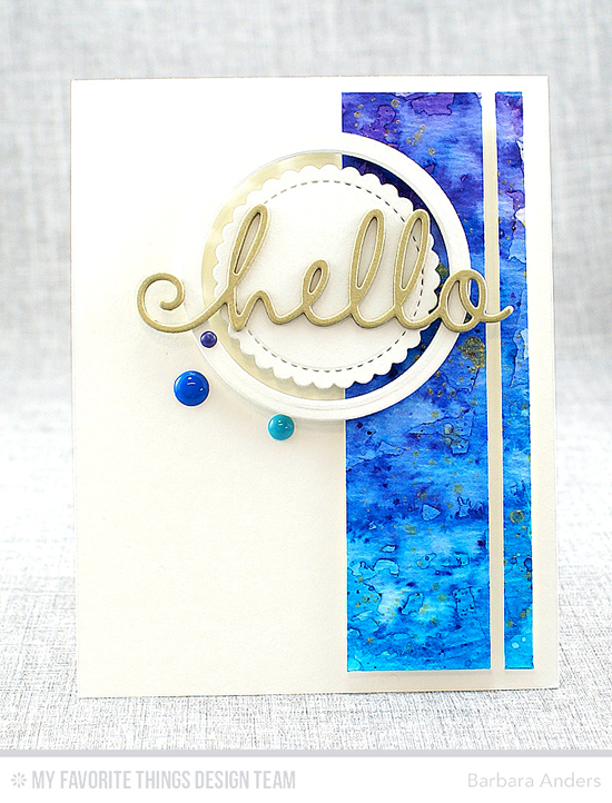 Handmade card from Barbara Anders featuring Distressed Patterns stamp set, Happy Hellos, Stitched Mini Scallop Circle STAX and Circle STAX Set 1 Die-namics #mftstamps