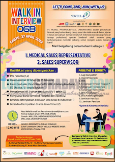 Walk In Interview di PT. Novell Pharmaceutical Laboratories (OGB) Surabaya April 2019