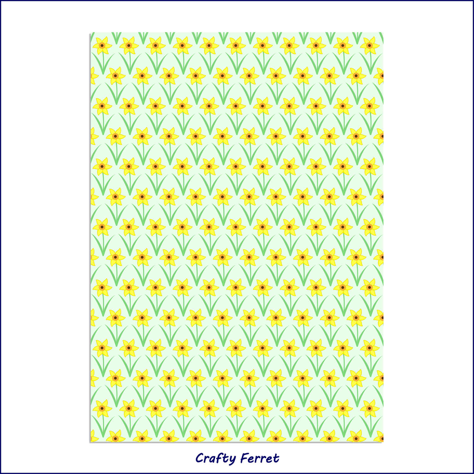 A4 printable daffodil craft backing paper.