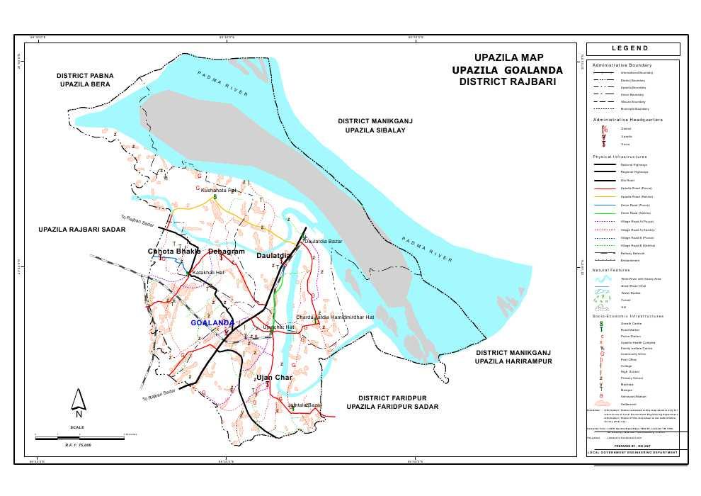 Goalanda Upazila Map Rajbari District Bangladesh