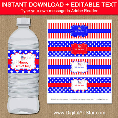4th of July party water bottle labels - red white and blue stars and stripes with editable text
