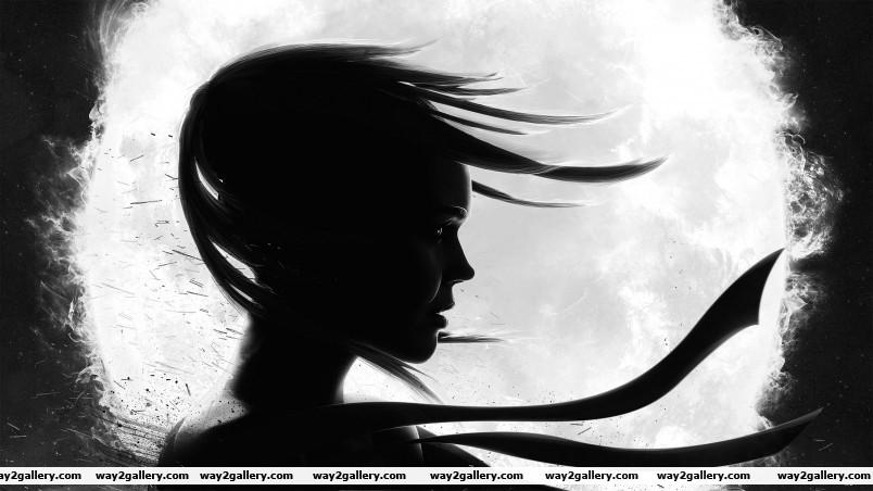 Black and white girl wallpaper