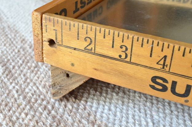 rustic tray and yardsticks