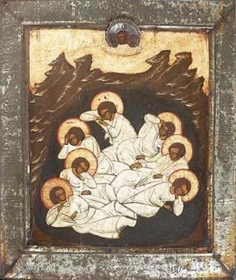 Οι άγιοι επτά παίδες εν Εφέσω. Ρωσική εικόνα του 19ου αιώνα.
