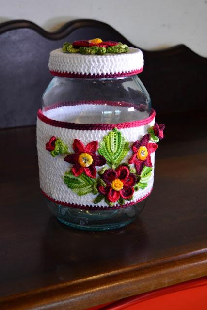 Como fazer decoração de crochê para pote de vidro - Gráfico e receita