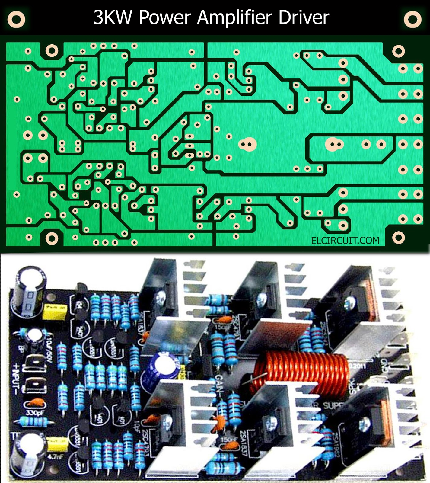 3kW Power Amplifier Driver Circuit PCB Layout - Electronic Circuit