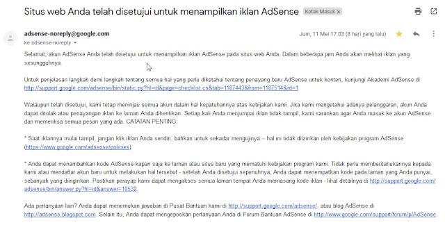Situs web telah disetujui untuk menampilkan iklan Adsense