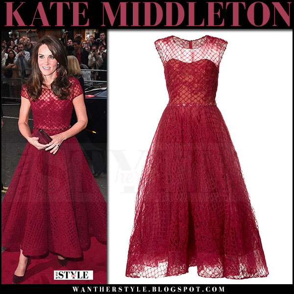 Kate Middleton in red lace midi dress marchesa what she wore april 2017