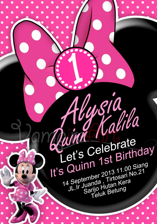Desain Undangan Ulang Tahun Minnie Mouse