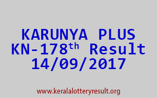 KARUNYA PLUS Lottery KN 178 Results 14-9-2017