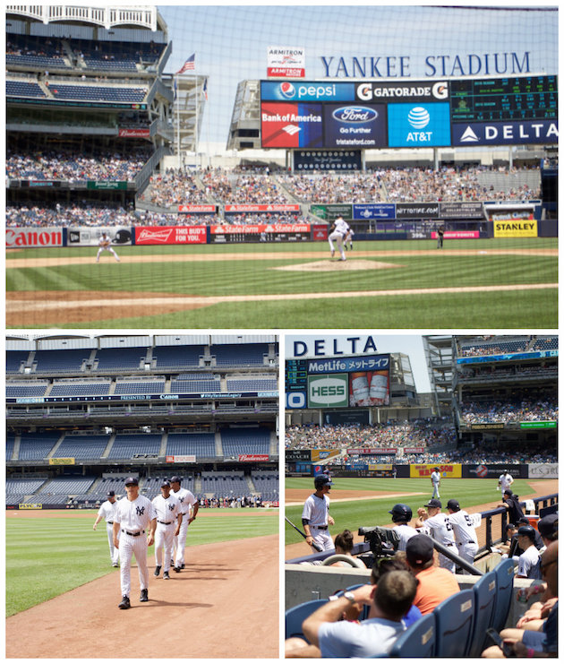 Photo of field, photo day, Yankees players in dugout