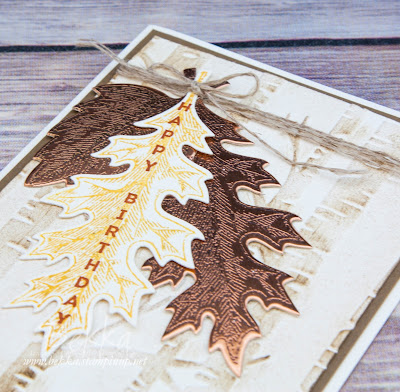 Embossed Autumn Leaves Birthday Card featuring the Vintage Leaves Stamp Set from Stampin' Up! UK