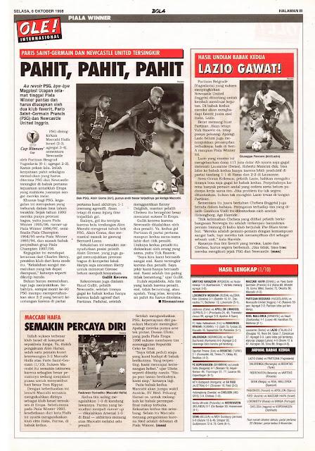 PIALA WINNER 1998 PARIS SAINT-GERMAIN DAN NEWCASTLE UNITED TERSINGKIR
