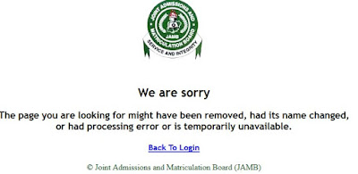 Temporary error in resting JAMB password