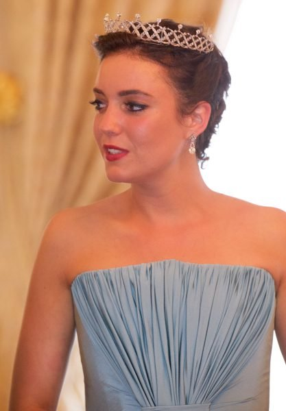 Belgian Scroll Tiara, butterfly tiara, Grand Duchess Josephine Charlotte's Pearl and Diamond Choker tiara, Grand Duchess Marie Adelaide's Sapphire and Diamond tiara, Vine Leaves tiara. Prenses Stephanie, Prenses Alexandra, Prenses Claire, Prenses Tessy