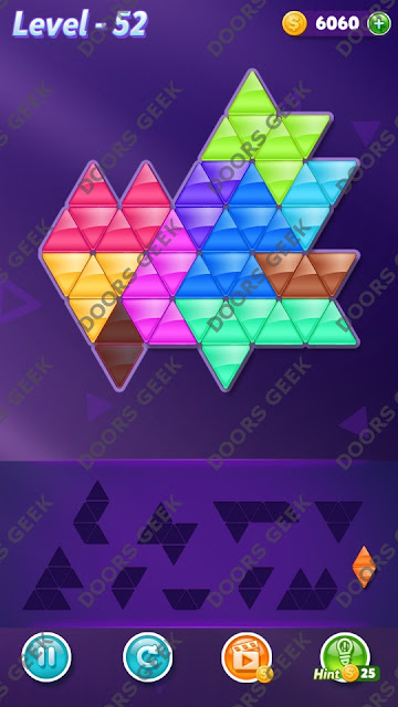 Block! Triangle Puzzle Master Level 52 Solution, Cheats, Walkthrough for Android, iPhone, iPad and iPod