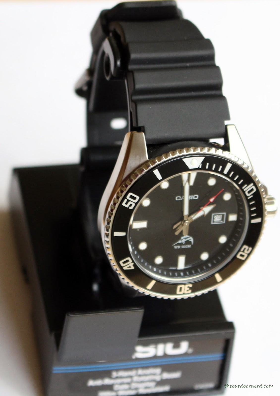 Casio MDV106-1A Diver's Watch: On Stand Top View