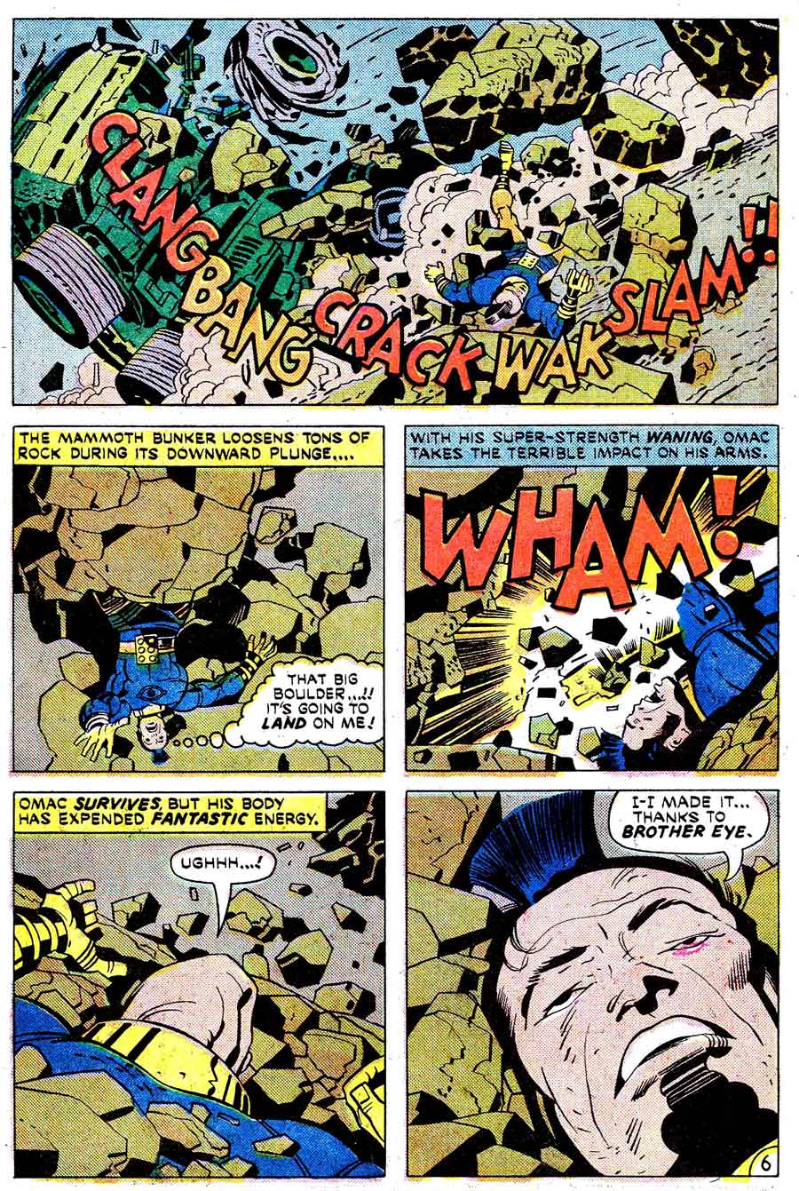 Omac v1 #4 dc bronze age comic book page art by Jack Kirby