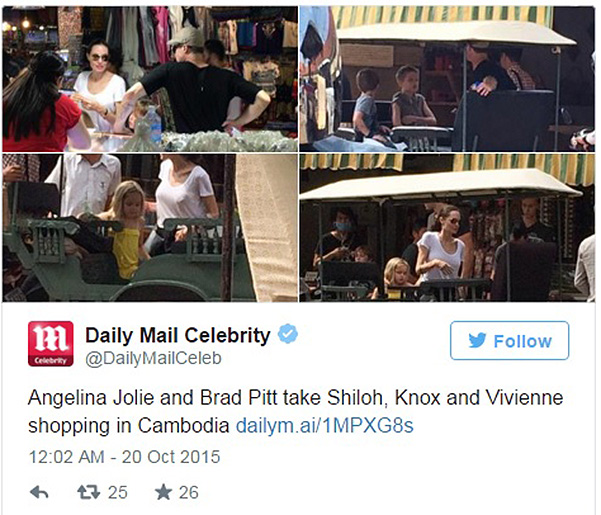 brad pitt with the twins were seen in Cambodia, where they joined angelina Jolie