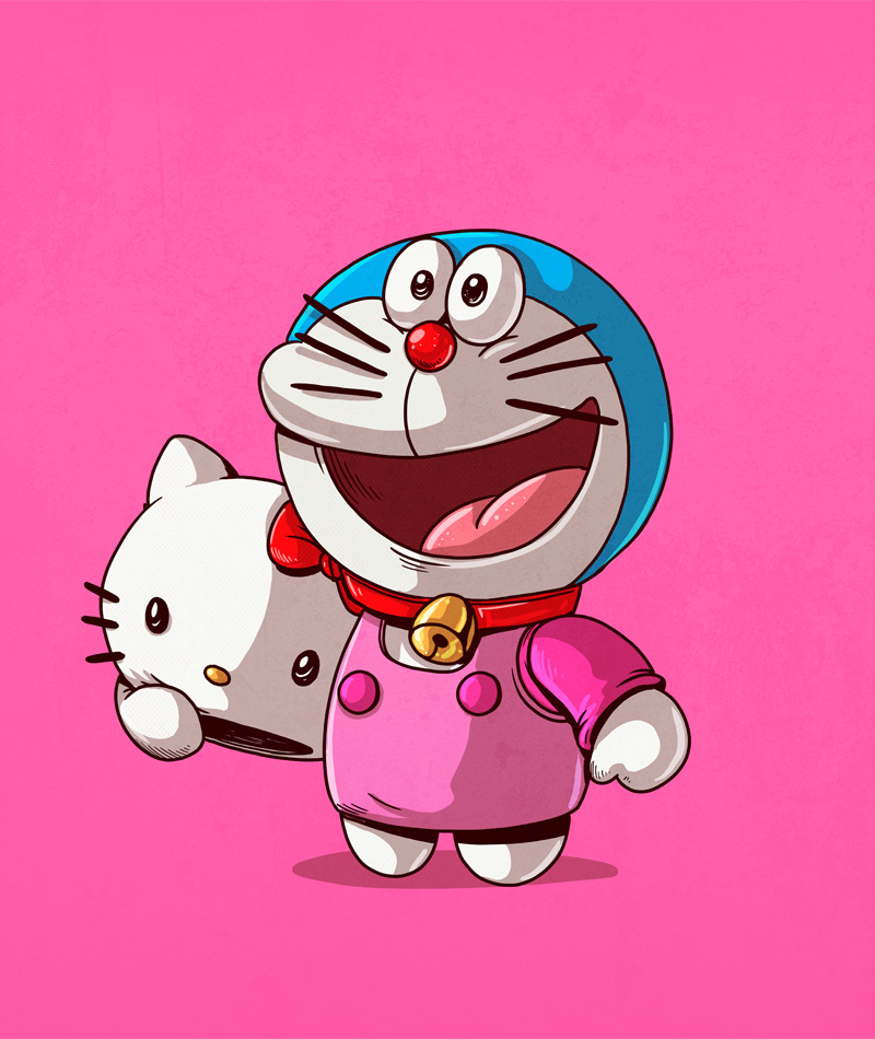 19-Hello-Kitty-and-Doraemon-Alex-Solis-Illustrations-of-Icons-Unmasked-www-designstack-co