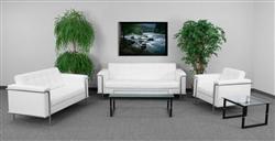 White Leather Lounge Furniture Set