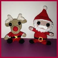 Papá Noel y reno amigurumi