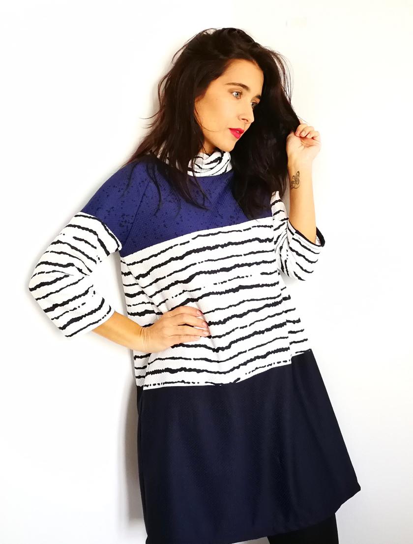 Vestido fácil con manga raglán y cuello alto | B. Blue DIY