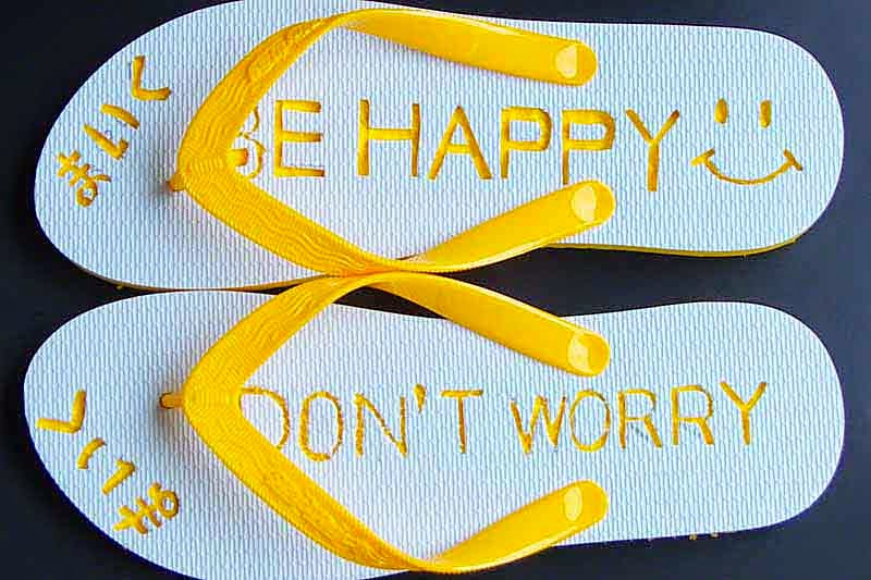 engraved yellow flip-flops