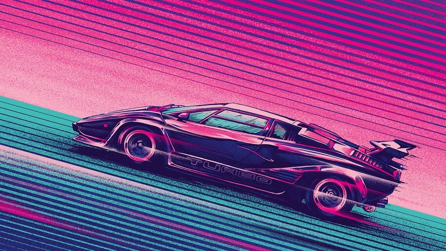 Sci-Fi, Car, Neon, Digital Art, Retrowave, Synthwave, 4K, #4.2022