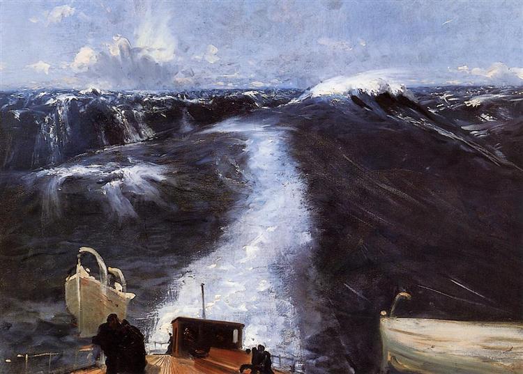 John Singer Sargent, das Leben, Menschen, ahnungslos, schicksal, sturm auf see, meer, der natur ausgeliefert sein, hilflosigkeit, angst vor dem tod, sterben, untergang, wellen, beten, verzweiflung, gott rufen, mächtig, painting, malerei, bild, poetische art