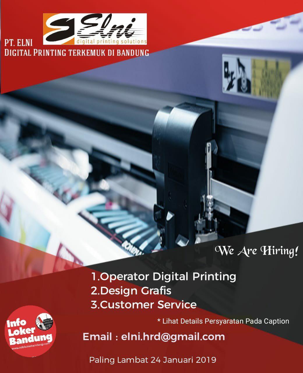 Lowongan Kerja PT. Elni Digital Printing Bandung Januari 2019